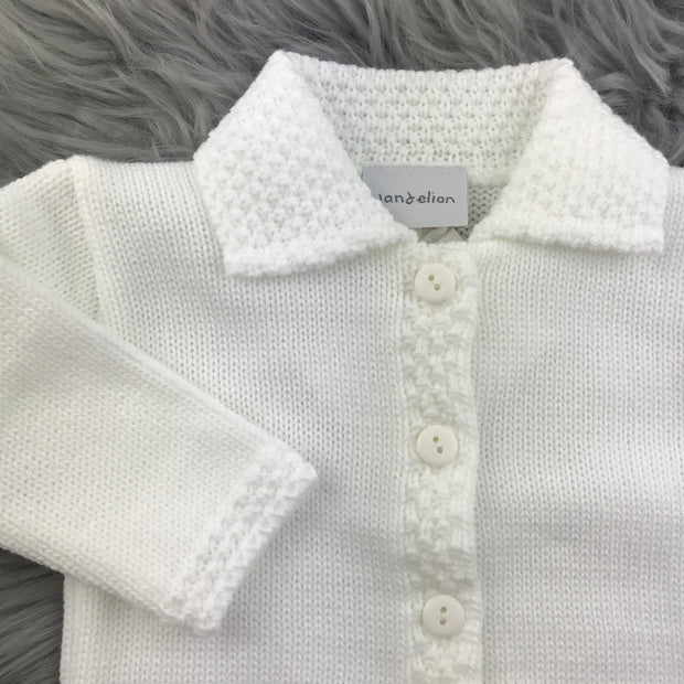 White Knitted Baby Cardigan Close