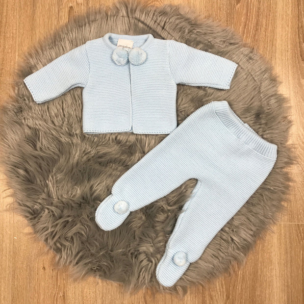 Baby Blue Knitted Pom Pom & Leggings Two Piece Set