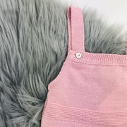 Dusky Pink Knitted Dungaree Close