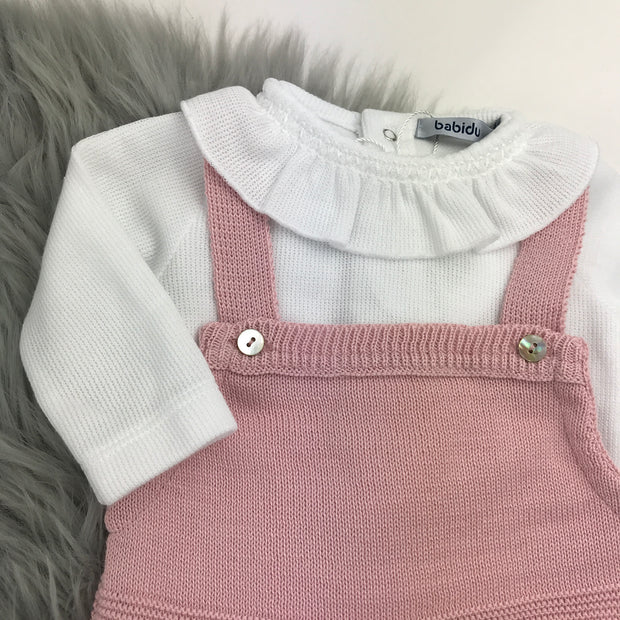 Dusky Pink Knitted Dungaree With Vest Close