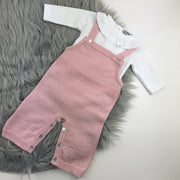 Dusky Pink Knitted Dungaree With Vest