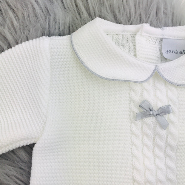 White Thick Knitted Three Piece Set Close