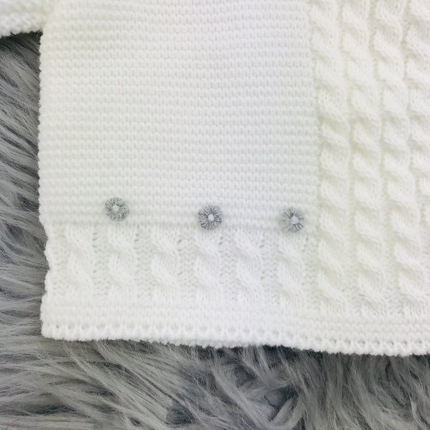 White Thick Knitted Three Piece Set Hem