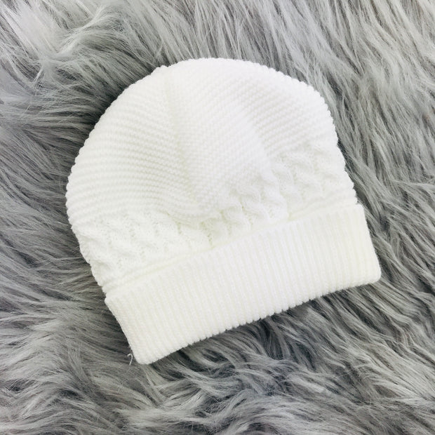 White Thick Knitted Three Piece Set Hat