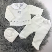 White Thick Knitted Three Piece Set