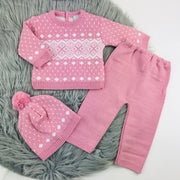Fair Isle Thick Knitted Three Piece Set