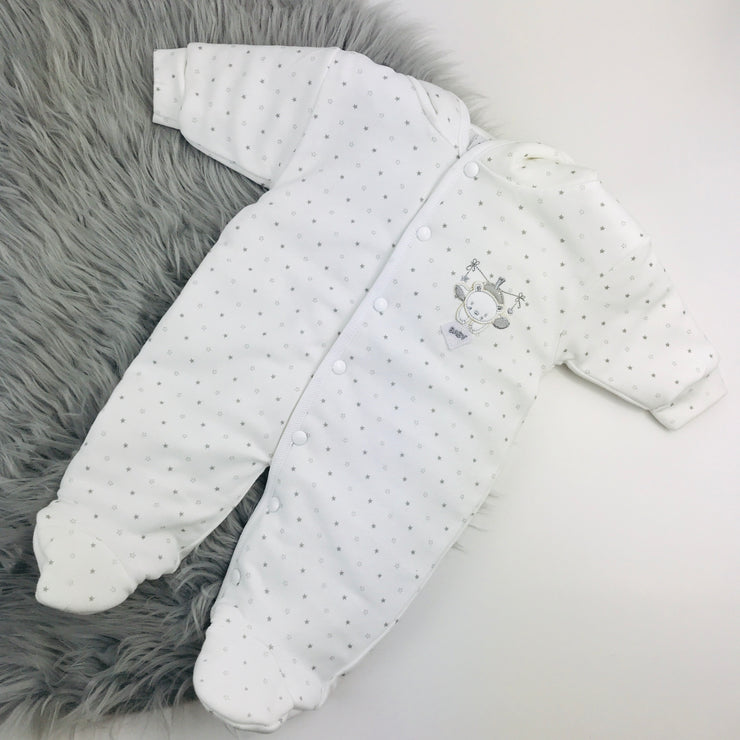White Baby Bear Star Printed Pramsuit