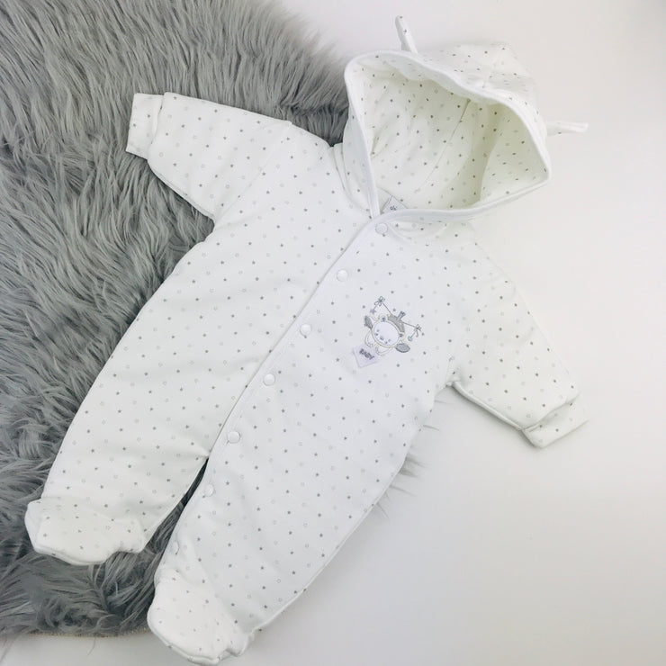 White Baby Bear Star Printed Pramsuit Hood