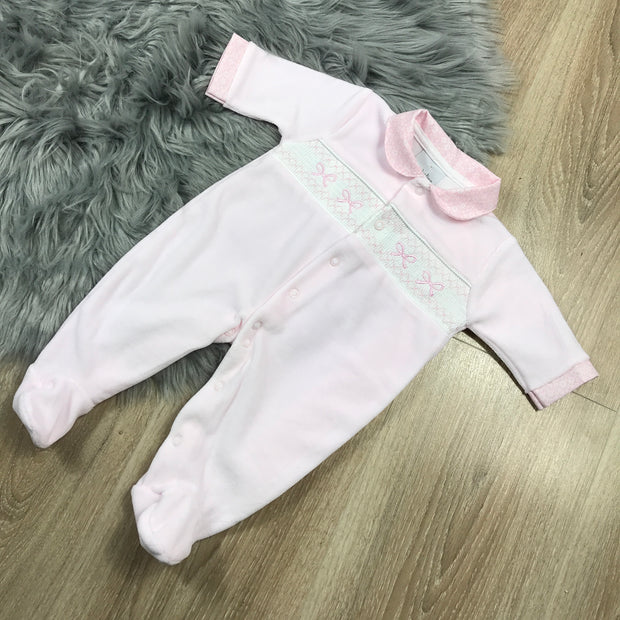 Baby Pink Smocked Velour Sleepsuit front
