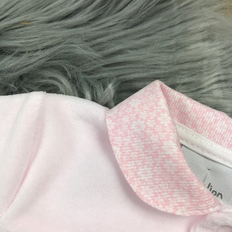 Baby Pink Smocked Velour Sleepsuit collar