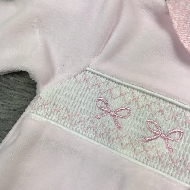Baby Pink Smocked Velour Sleepsuit smock