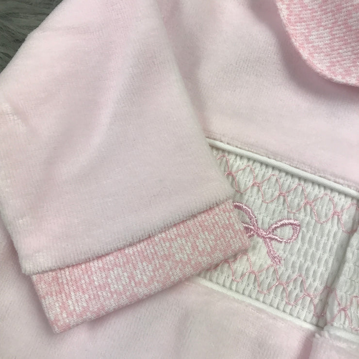Baby Pink Smocked Velour Sleepsuit cuff