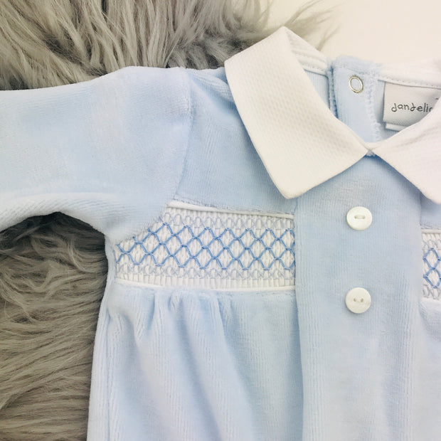 Baby Blue Button Smocked Velour Sleepsuit