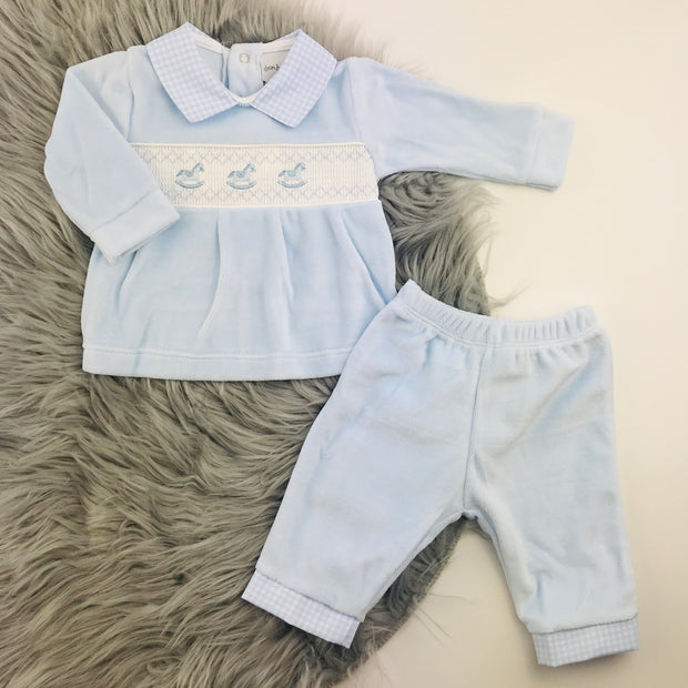 Baby Blue Smocked Velour Top & Trouser Set