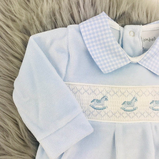 Baby Blue Smocked Velour Top