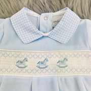 Baby Blue Smocked Velour Top Smocking
