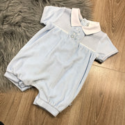 Blue & White Smocked Velour Romper Front
