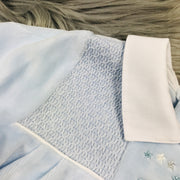 Blue & White Smocked Velour Romper Collar