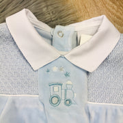 Blue & White Smocked Velour Romper Close Smocking