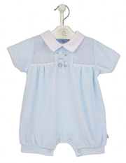 Blue & White Smocked Velour Romper