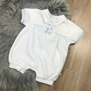 White Smocked Velour Romper