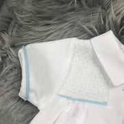 White Smocked Velour Romper Sleeve