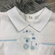 White Smocked Velour Romper Smocking