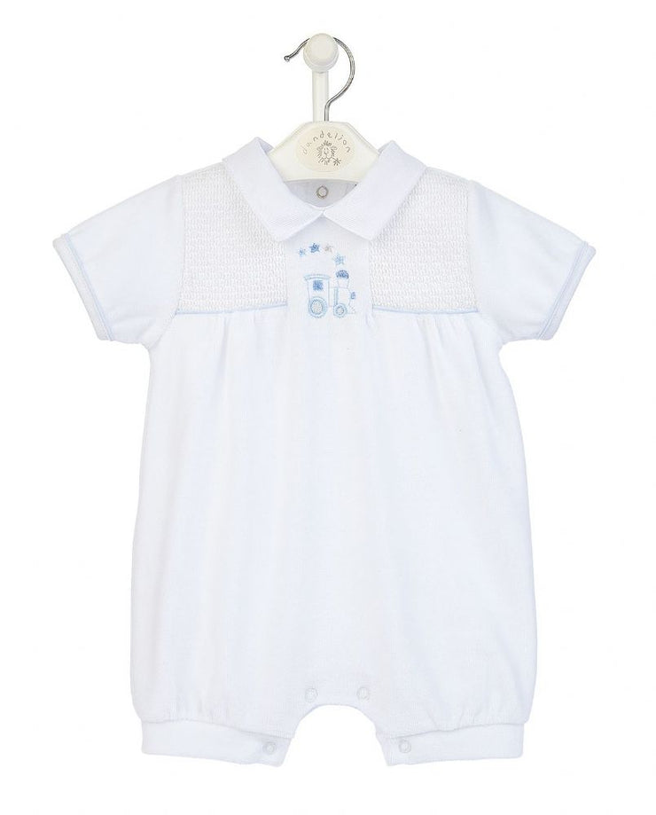 White Smocked Velour Romper Hanging