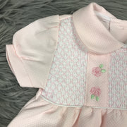 Pink Smocked Cotton Dress Sleeve