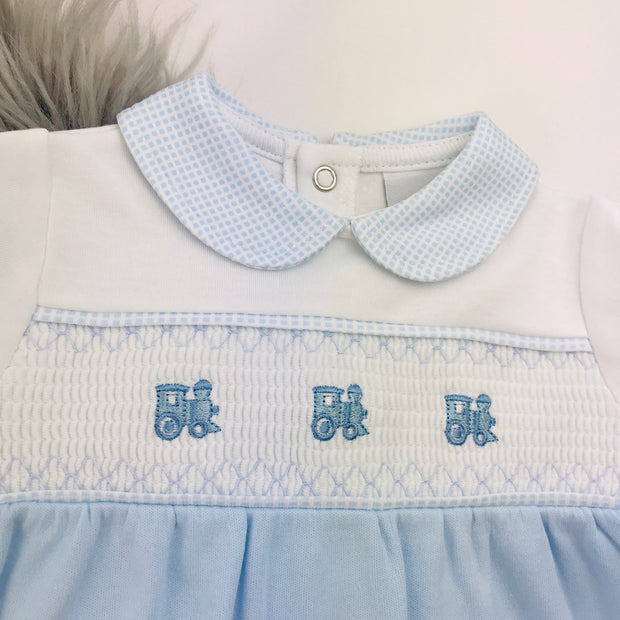 Blue & White Train Smocked Cotton Sleepsuit Smocking
