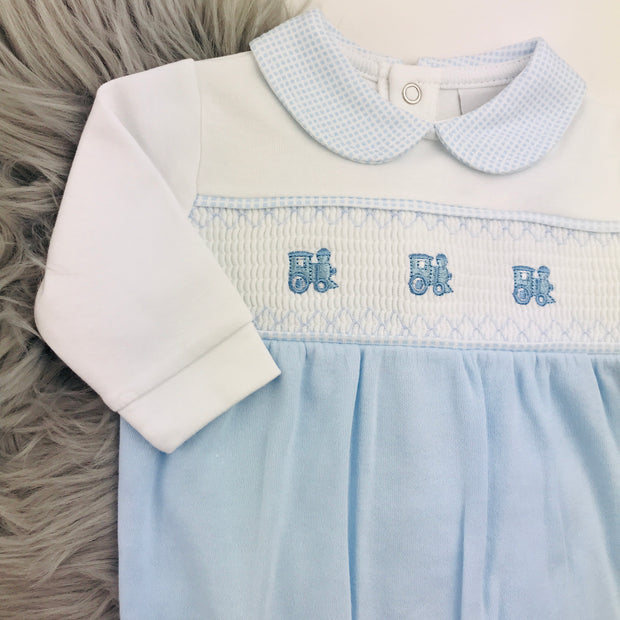 Blue & White Train Smocked Cotton Sleepsuit Close
