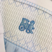 Blue & White Train Smocked Cotton Sleepsuit Train