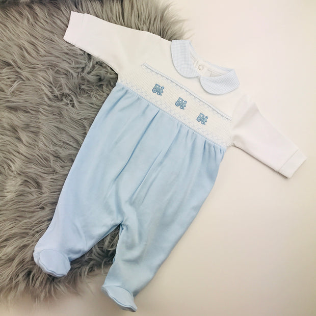 Blue & White Train Smocked Cotton Sleepsuit