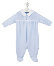 Blue & White Smocked Cotton Sleepsuit