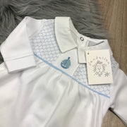 White & Blue Smocked Cotton Sleepsuit Front