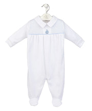 White & Blue Smocked Cotton Sleepsuit