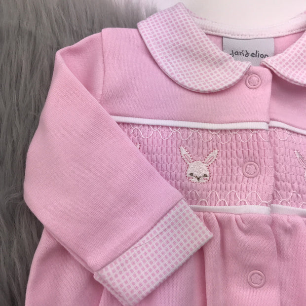Pink Bunny Smocked Cotton Sleepsuit Close