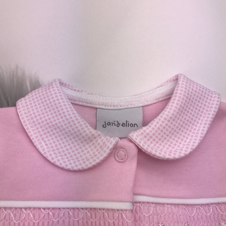 Pink Bunny Smocked Cotton Sleepsuit Collar