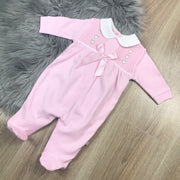 Pink Smocked Cotton Sleepsuit Full