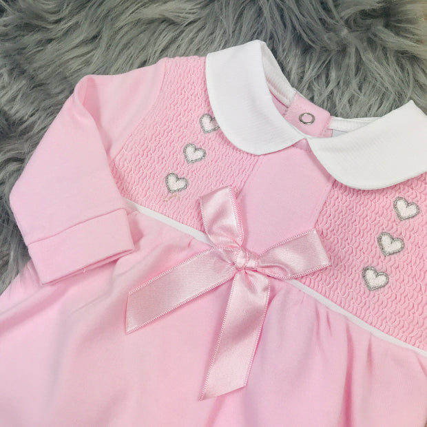 Pink Smocked Cotton Sleepsuit Close