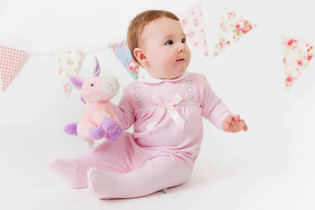 Pink Smocked Cotton Sleepsuit