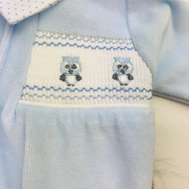 Baby Blue Little Owls Smocked Velour Sleepsuit Owls Close