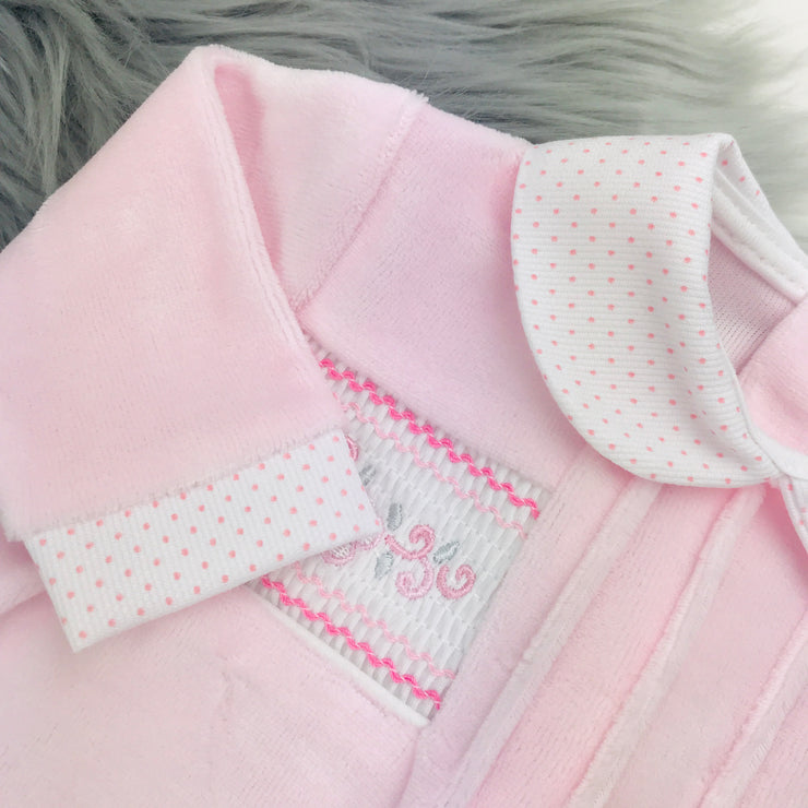 Baby Pink Flower Smocked Velour Sleepsuit Collar and