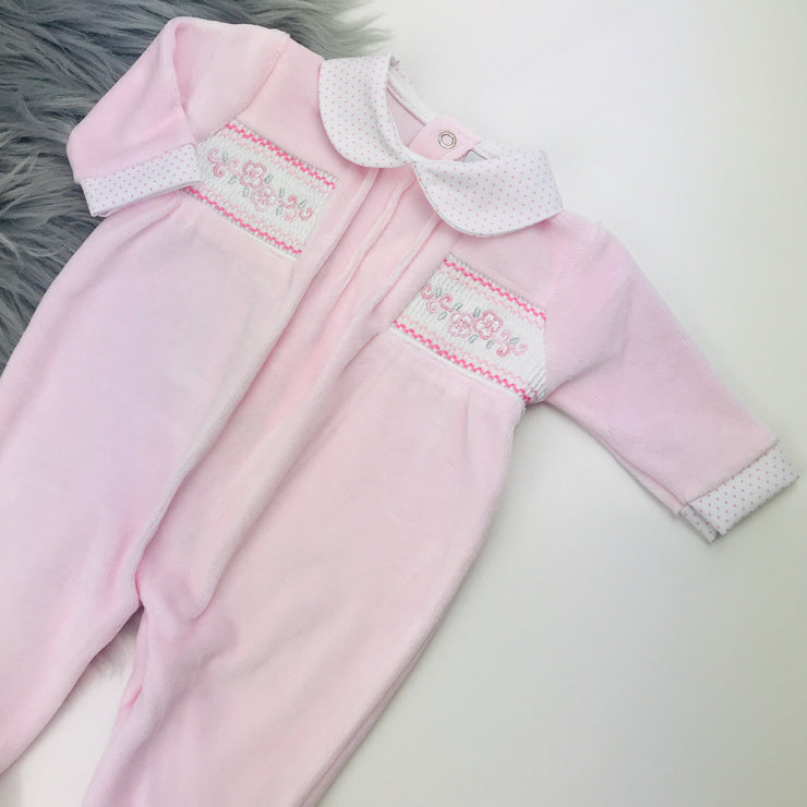 Baby Pink Flower Smocked Velour Sleepsuit