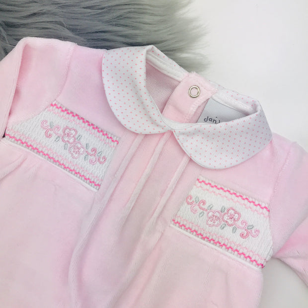 Baby Pink Flower Smocked Velour Sleepsuit Smocking Close