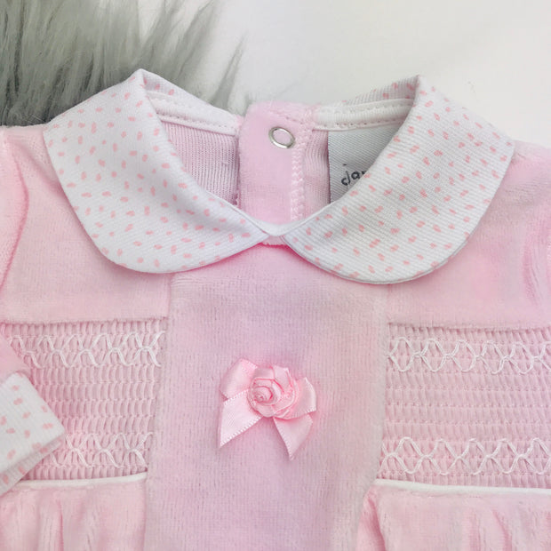 Baby Pink Rosebud Smocked Velour Sleepsuit Close