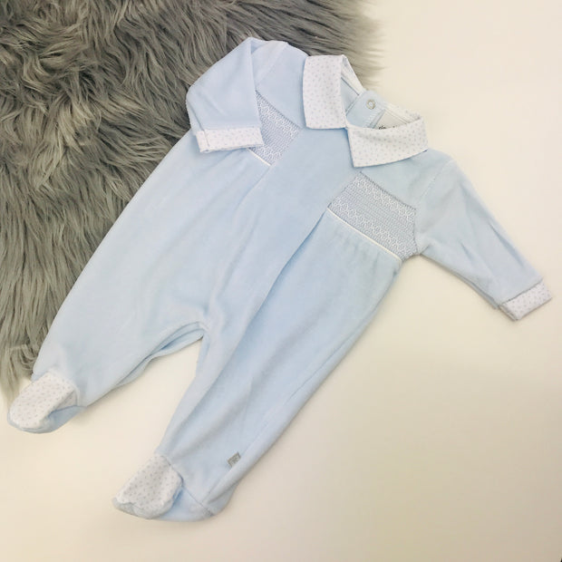 Baby Blue Smocked Velour Sleepsuit Full