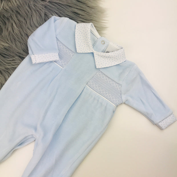 Baby Blue Smocked Velour Sleepsuit
