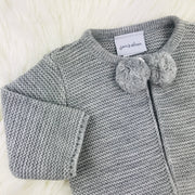 Grey Knitted Pom Pom Close