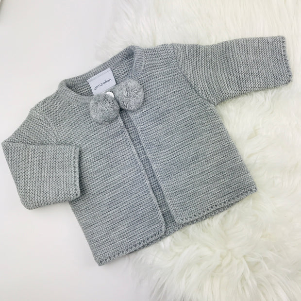 Grey Knitted Pom Pom Cardigan